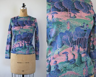 vintage 1970s blouse / 70s Georges Seruat A Sunday Afternoon top / 70s pointillism blouse / 70s novelty print shirt / size small