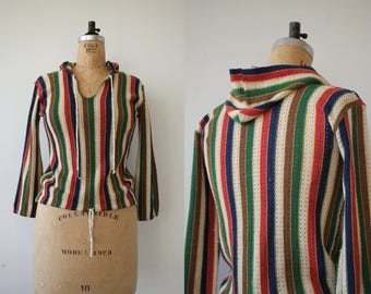 vintage 1970s shirt / 1970s striped hoodie / 70s colorful striped top / 70s drawstring hem top / hippie shirt / drawstring waist / small med