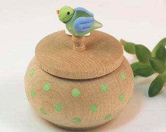 Tiny Wood Trinket Box with  Lampwork Glass Lime Birdie Knob/Finial