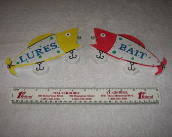 Fishing Tackle / Bait Shop / Live Bait Sign / Hanging Lure Fish / Hand Made / 7  1/2 X 4 Inches.