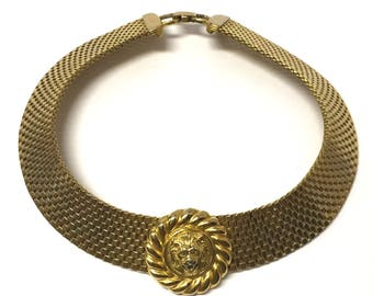 Vintage 70's Gold Tone Lion Choker Statement Necklace
