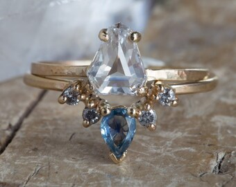 Geometric White Rose Cut Diamond Engagement Ring