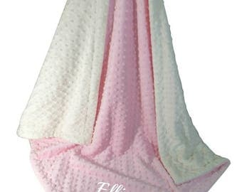 SALE Pink Minky Dot Baby Blanket, Pink and Cream Minky Baby Blanket, Can Be Personalized