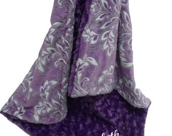 SALE Minky Baby Blanket Purple Madrid Print and Rose Swirl Minky Can Be Personalized