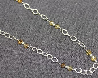 Cognac Tourmaline Chain Necklace, Delicate Tourmaline Necklace, Golden Tourmaline Necklace