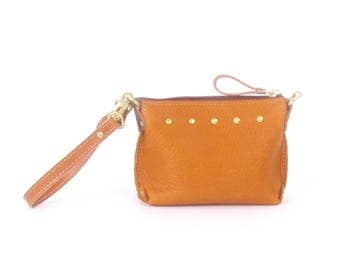 Copper Leather Mini Bag ~ Tan and Brown Leather Wristlet