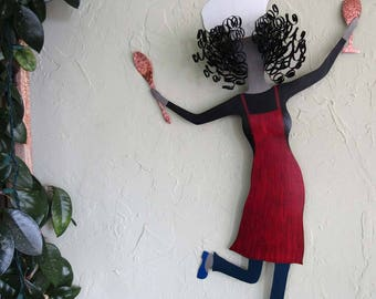 Metal Sculpture Kitchen Wall Art Large Dancing Chef Dining Room Kitchen Wine Decor Red Black Recycled Metal Red Head 19 x 31