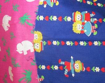 Fabric Lot Vintage Raggedy Ann & Andy Fabric Red blue Folk Boho Fabric Pink Elephant Fabric FQ Fat Quarter Remnant Scrap Lot
