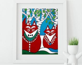Fox Art, Two Foxes Print Animal Art, Fox Wall Art, Woodland Animals Home Decor, Valentine's Day Gift, Fox Gift