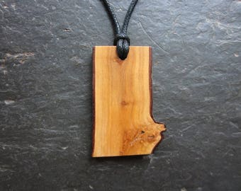 "Natural Wood Pendant - Hawthorn - Unique ""Live Edge"" Design."