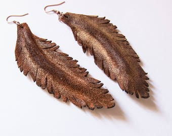 Feather earrings. Long dangle leather earrings. Brown color