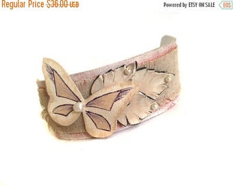 40% OFF SALE Shabby chic leather bracelet Monochrome vintage style Linen Cuff Bracelet  Women's bracelet Leather jewelry