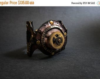 50% OFF SALE Leather steampunk cuff bracelet