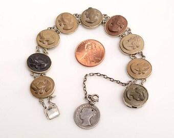 Victorian Lava Cameo Bracelet set in silver:  Grand Tour Souvenir circa 1890 - with English 4 pence coin
