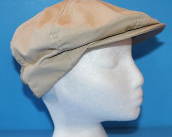 Vintage Newsboy or Golf Style Hat, 1970's. Tan Cotton