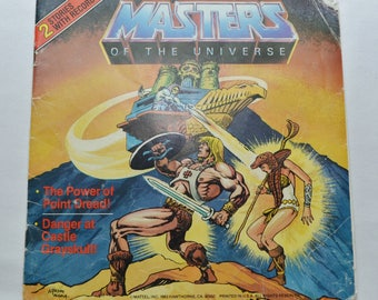 Vintage Masters of the Universe Lot of 2 Records with Storybooks 1983 7 inch Skeletor Castle Grayskull