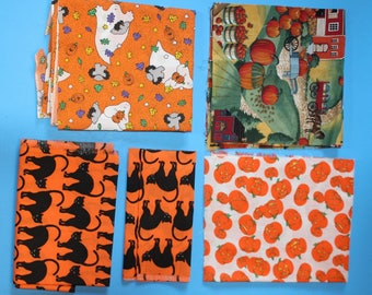 Five Pieces of Cotton Fabric Remnants, Halloween Theme