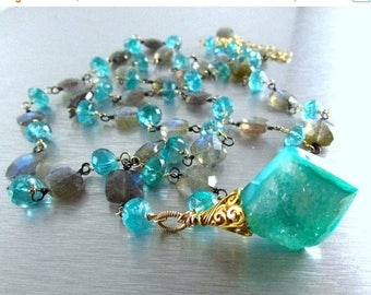 25 OFF Aqua Druzy Pendant With Apatite And Labradorite Wire Wrapped Necklace