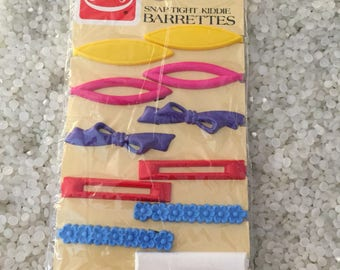 retro goody barrettes. vintage barrette  Set of childs barrette, rare still in package dated 1975, 1982, Made in USA larger