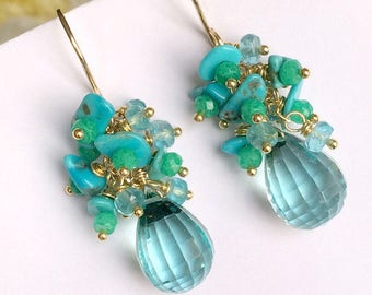 Aqua Earrings Turquoise Cluster Earring Wire Wrap Chrysoprase Gemstone Cluster 14kt Gold Fill Teardrop Earring Seafoam Mint Chrysoprase