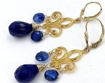 SUMMER SALE Blue Lapis Earring Gold Chandelier Earrings, Gold Fleur de Lis, Wire Wrap Blue Kyanite Earrings Blue Gemstone Bohemian Luxe Earr
