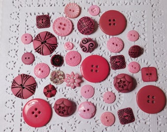 Pink Whimsical Decorative Buttons - 34 of Them