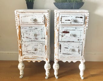Vintage art deco hand painted and distressed wood dresser wood nightstand 2 side tables
