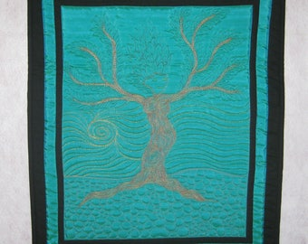 Nimue, First of the Dryad Series, Quilted Wallhanging
