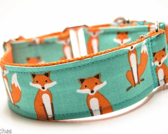 Red Fox Dog Collar / 1.5 inch or 2 inch Width ONLY / Martingale or Buckle / Animal Print Dog Collar