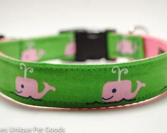 Whale Dog Collar / Jonie's Whale / Buckle or Martingale Dog Collar / Nautical