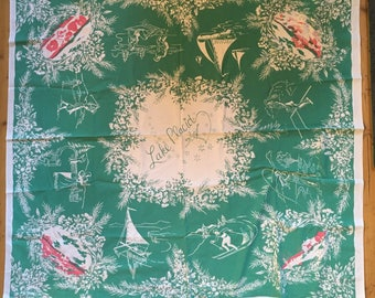 Fabulous and HTF Rare Lake Placid 1940's Souvenir Tablecloth with Sporting Images