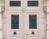 Paris Photography, Pink Door Photo, Pink Wall Art Paris, Pink Room Decor, Pink Door in Paris, Autumn