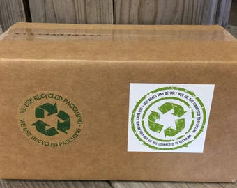 Free U.S. Shipping - Recycled Packaging Sticker - Let Customers Know You Recycle - Recycled Brown Kraft or White Ugly Box Square Stickers