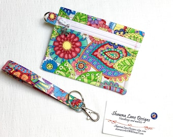 zipper pouch, coin purse, colorful keychain with wristlet strap, debit card keeper, money pouch, lip balm holder, affordable gift all ages