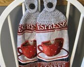 2 Crocheted Hanging Kitchen Towels - Espresso