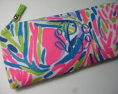 Lilly Pulitzer Pencil Case,Make Up Bag,Cosmetic Bag,Sorority Gift,Preppy, Stocking Stuffer,Bridesmaid Gift (Multi Palm Reader Pink)