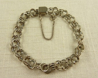 Vintage Eton Sterling Double Link Blank Charm Bracelet with Safety Chain