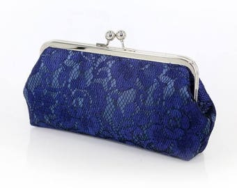 HALF PRICE SALE Navy Peony Lace Bridal Clutch + Silver frame | Gift to Mom Ready To Ship
