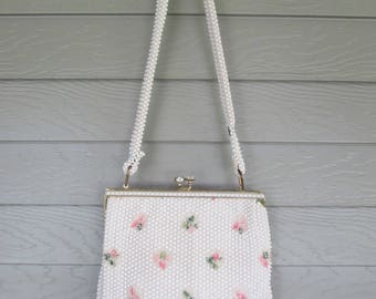 Lumured White & Pink Embroidered Beaded Handbag