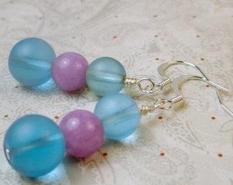 SALE, 50%, Purple and blue dangle drop earrings, blue frosted and purple jade earrings