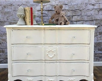 French Provincial Dresser Painted Cottage Shabby Chic, Baby Changing Station Creamy White with Rose Floral Appliques and Light Distressing