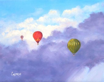 Hot Air Balloons, 8x10 Original Oil Painting, Skyscape on Canvas Panel , FREE SHIPPING in US