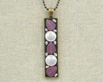 Pink Themed Czech Glass and Freshwater Pearl Coin Antique Brass Pendant Necklace