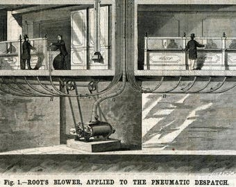 Pneumatic Tube System - Antique 1875 Journal Article - Engineering Illustration - Gift for Him