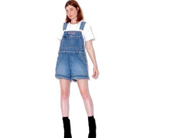 cutest vintage 90s OVERALL SHORTS // womens overalls denim overalls womens overalls high waisted denim shorts jean shorts jumpsuit romper