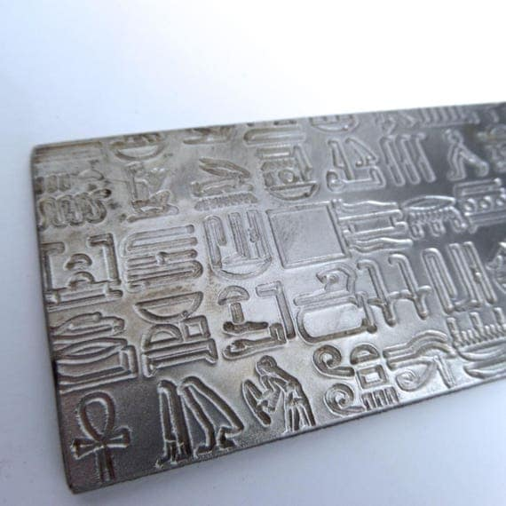 "Hieroglyphics Rolling Mill Texture Embossing Plate 2"" x 6"" Steel Texture Plate for Rolling Mill or Hammering - Made in USA"