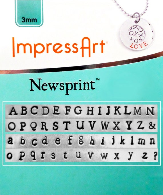 "2 sets - 1/8"" News Print 3mm Letter Metal Stamping Set Upper and Lower Case with ""&"" and ""?"" Symbol by ImpressArt Metal Stamps Letter Stamps"