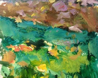 Meadow Yellow, Berkshire Landscape Painting expressive loose impressionist art