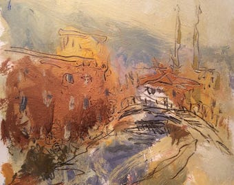 River Mills /  Abstract  expressive New England Mill  painting