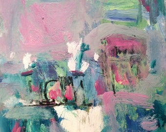 Abstract painting expressionist art harbor pier water reflections in pink ocean themed sea art